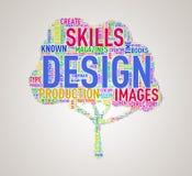 Projeto do wordcloud da forma da árvore Fotos de Stock