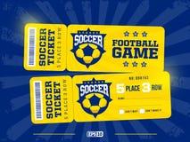 Projeto dois profissional moderno de bilhetes do futebol no tema azul e amarelo Foto de Stock