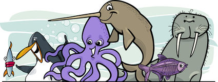 Projeto dos animais da vida de mar dos desenhos animados Imagens de Stock Royalty Free