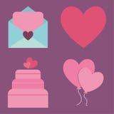 Projeto dos balões e do bolo do coração da carta de amor Imagens de Stock