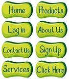 Projeto dos botões com palavras no verde Fotografia de Stock Royalty Free