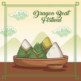 Projeto dos desenhos animados do festival de barco de dragão ilustração royalty free