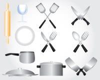 Projeto dos elementos da cozinha Fotos de Stock