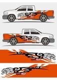 Projeto dos jogos dos gráficos do decalque do caminhão e do veículo ilustração royalty free