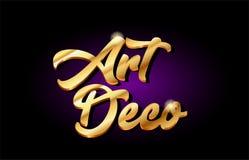 projeto dourado do ícone do logotipo do metal do texto do ouro do art deco 3d escrito à mão Imagens de Stock Royalty Free
