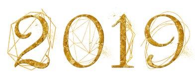 Projeto dourado do número do ano 2019 com sinal de cristal do ano novo da aquarela da forma geométrica do ouro imagem de stock