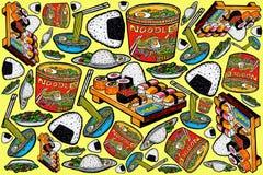 Projeto e ilustrações asiáticos do teste padrão do alimento ilustração stock