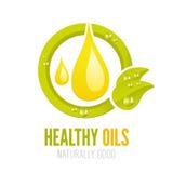 Projeto ecológico da etiqueta dos óleos saudáveis Fotos de Stock Royalty Free