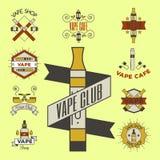 Projeto eletrônico da loja do dispositivo do atomizador da ilustração do cigarro da nicotina do vintage do emblemsvector do e-cig Fotos de Stock