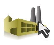 Projeto em linha da ilustração da fábrica e do cursor Imagem de Stock