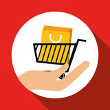 Projeto em linha de compra, ilustração do vetor, ilustração do vetor Fotografia de Stock