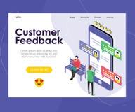 Projeto em linha do vetor da avaliação do feedback de cliente dos dados ilustração royalty free