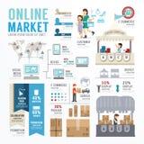 Projeto em linha Infographic do molde do mercado empresarial Conceito Imagens de Stock