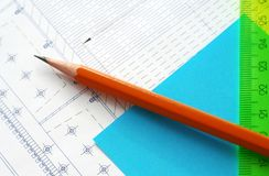 Projeto. Engenharia. Lápis Foto de Stock Royalty Free