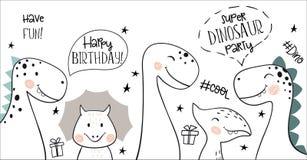 Projeto escandinavo simples da criança do dinossauro bonito do feliz aniversario Cópia do bebê Foto de Stock