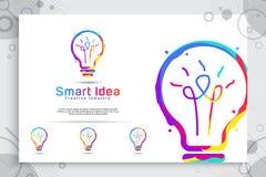 Projeto esperto do logotipo do vetor da ideia com conceito colorido para a ilustração da educação e do símbolo da inteligência ilustração stock