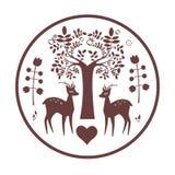Projeto famtasy redondo com cervos Imagem de Stock Royalty Free