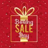 Projeto feliz com caixas de presente, economias grandes de compra da venda da São Estêvão do feriado ilustração royalty free