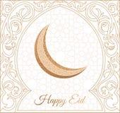 Projeto feliz do cumprimento de Eid Mubarak, palavras felizes do feriado com mesquita dourada e fundo floral fotos de stock royalty free
