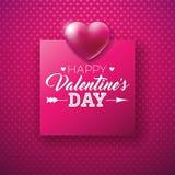 Projeto feliz do dia de Valentim com letra brilhante do coração e da tipografia no teste padrão vermelho do fundo Casamento super ilustração royalty free
