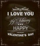 Projeto feliz do dia de Valentim. Quadro-negro Fotografia de Stock