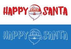 Projeto feliz do logotipo de Santa para cartões, presentes, bandeiras, etiquetas e etiquetas do Natal Fotos de Stock