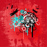 Projeto floral abstrato vermelho Fotos de Stock Royalty Free