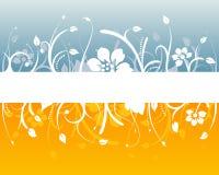Projeto floral azul e alaranjado ilustração do vetor
