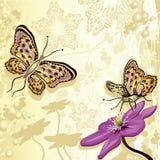 Projeto floral com borboletas ilustração royalty free