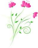 Projeto floral com a flor três cor-de-rosa Imagens de Stock
