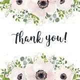 Projeto floral da aquarela do cartão do vetor: luz branca floral de jardim Fotos de Stock Royalty Free