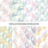 Projeto floral do papel de parede do fundo do teste padrão do vetor das folhas tropicais sem emenda Imagem de Stock Royalty Free