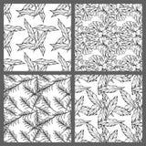 Projeto floral do papel de parede do fundo do teste padrão do vetor das folhas tropicais sem emenda preto e branco Foto de Stock Royalty Free