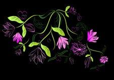 Projeto floral do verde e da cor-de-rosa Imagem de Stock