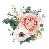 Projeto floral do vetor do cartão: explorador de saída de quadriculação do pêssego do rosa da alfazema da flor do jardim ilustração royalty free