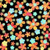 Projeto floral vibrante no fundo preto Fotografia de Stock Royalty Free