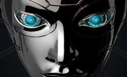 Projeto futurista da cara fêmea do robô Fotos de Stock Royalty Free