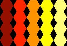 Projeto geométrico amarelo alaranjado vermelho sextavado no fundo preto Textura abstrata Pode ser usado para o projeto da tampa,  imagem de stock