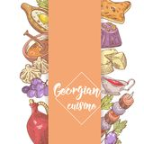 Projeto Georgian tirado mão do menu do alimento Georgia Traditional Cuisine com bolinha de massa e Khinkali ilustração stock