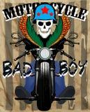 Projeto gráfico da camisa do homem T do divertimento de New York do crânio da motocicleta ilustração stock