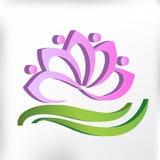 Projeto gráfico da ilustração da imagem do vetor do logotipo dos trabalhos de equipa 3D da ioga da flor de Lotus Fotos de Stock