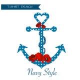 Projeto gráfico do fundo floral do t-shirt da marinha Imagem de Stock Royalty Free