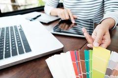Projeto gráfico e amostras de folha e penas da cor em uma mesa Architectu Foto de Stock Royalty Free