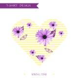 Projeto gráfico feminino floral do t-shirt/fundo Imagens de Stock