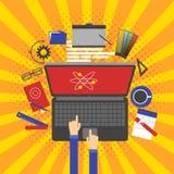 Projeto gráfico, ferramentas do desenhista e software Foto de Stock Royalty Free