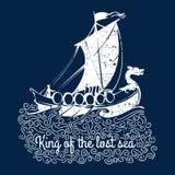 Projeto gráfico do t-shirt do logotipo de Viquingues Imagens de Stock Royalty Free