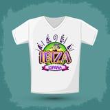 Projeto gráfico do t-shirt, Ibiza Espana - os espanhóis da Espanha de Ibiza text Fotografia de Stock Royalty Free