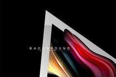Projeto holográfico das cores fluidas líquidas com linha metálica forma do estilo ilustração stock
