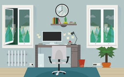 Projeto home cinzento do vetor da sala de trabalho Imagem de Stock