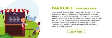 Projeto horizontal da bandeira da Web para o café do parque O garçom da moça trouxe uma ordem ao cliente cafetaria pequena da rua ilustração do vetor